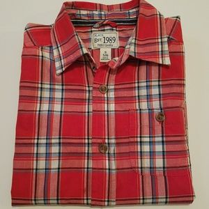 Boy Red Plaid shirt  S 5/6